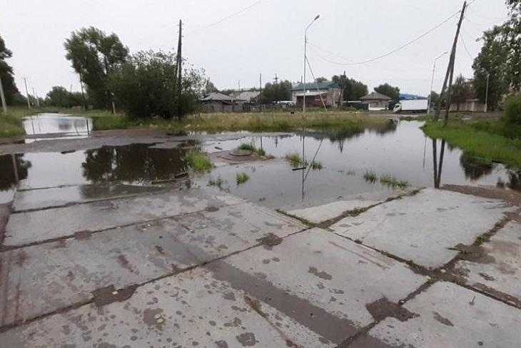 Город Зиму частично подтопило из-за сильных дождей