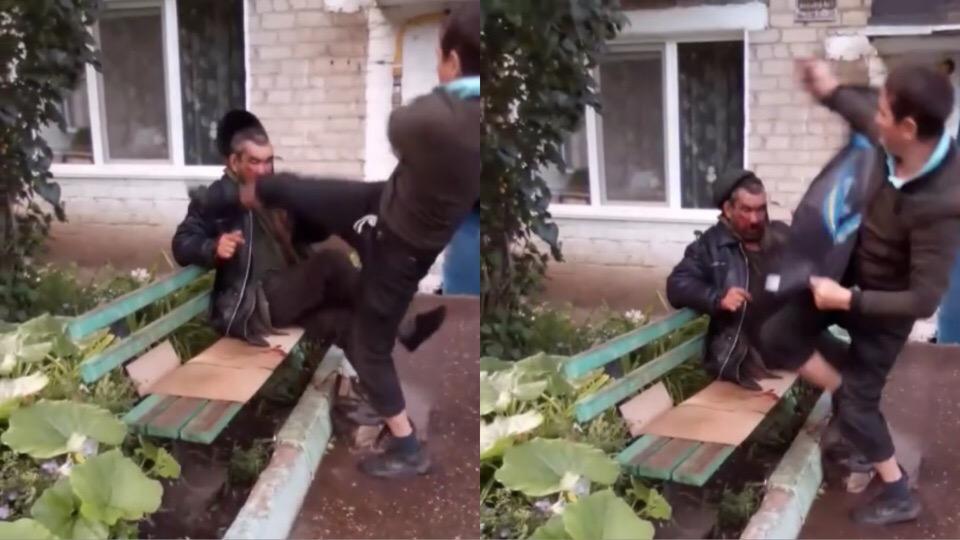 «Простите меня, пожалуйста»: В Башкирии мужчину, избившего бездомного, заставили извиниться на видео