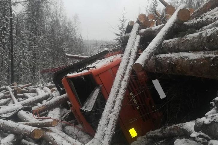 Мужчина погиб под упавшими с лесовоза бревнами в Братском районе