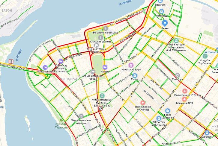 В центре Иркутска образовались километровые пробки из-за аварий